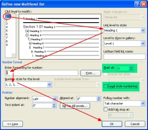 define new multi level list dialog