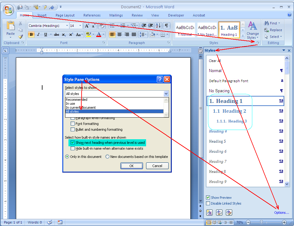 how to make lists word 2007
