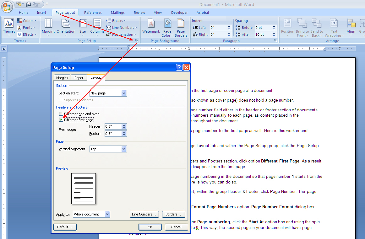 how to omit page number from the first page of a document ms different first page