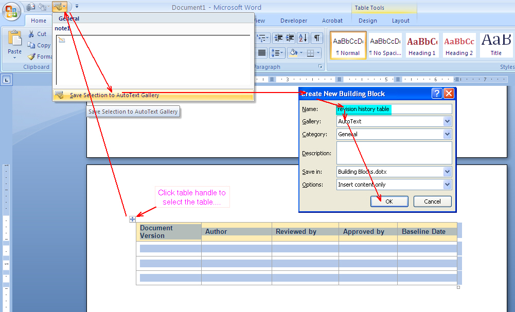 How To Use Autotext In Word To Insert A Table In Word 2007