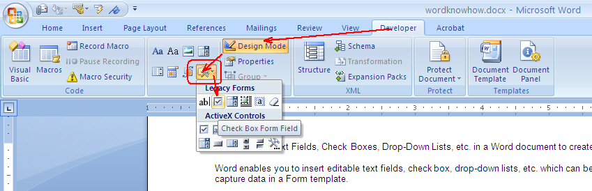 How To Insert Text Fields Check Boxes Drop Down Lists Combobox