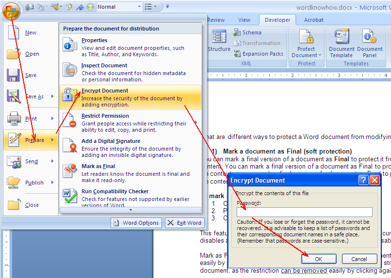 how to protect a word document 2013